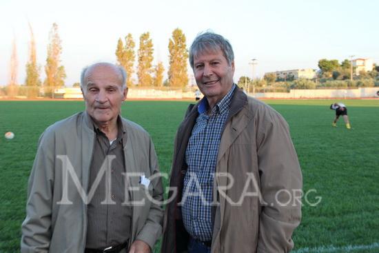 Οι προπονητές των παλαιμάχων του Βύζαντα Θάκης Κορόγιαννης και Γιάννης Σταυράκης