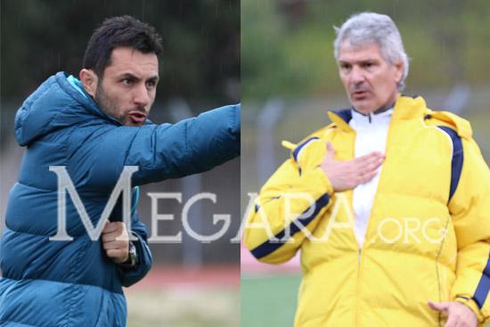 Οι δύο προπονητές. Αριστερά ο Γιώργος Αντωνόπουλος (Παναρδαδικός) και δεξιά ο Παναγιώτης Χρισόπουλος (Βύζας)
